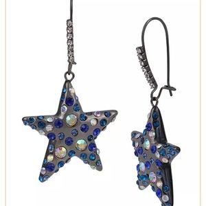 Betsey Johnson blue black dangle star earr…